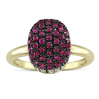 Miadora Ruby and Diamond Accent Oval-Shape Cocktail Ring in 14k Yellow Gold with Black Rhodium (G-H, I1-I2)