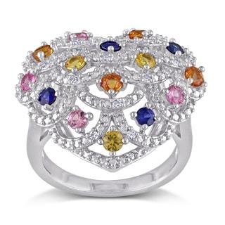 Miadora Multi-Colored Sapphire and Diamond Accent Crisscross Heart Statement Ring in Sterling Silver