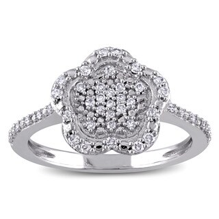Laura Ashley 10k White Gold 1/4ct TDW Diamond Flower Cluster Ring
