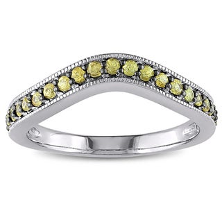 Miadora Yellow Sapphire Chevron Eternity Ring in Sterling Silver with Black Rhodium Plating