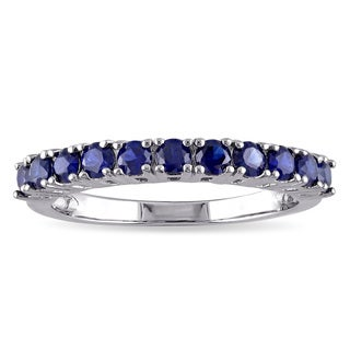 Miadora Created Blue Sapphire Semi-Eternity Ring in Sterling Silver