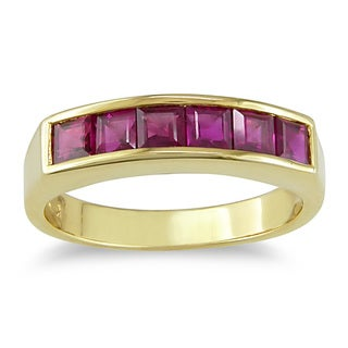 Miadora Signature Collection Square-Cut Ruby Anniversary Ring in 14k Yellow Gold