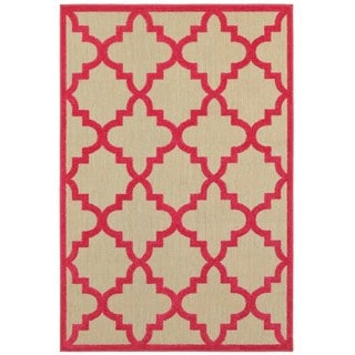 """Mixed Pile Lattice Sand/ Pink Indoor-Outdoor Area Rug - 3'10"""" x 5'5"""""""