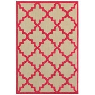 """StyleHaven Lattice Sand/ Pink Indoor-Outdoor Area Rug - 3'10"""" x 5'5"""""""
