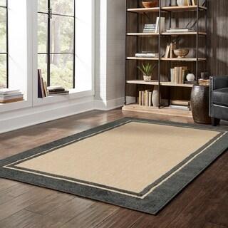 StyleHaven Borders Sand/ Charcoal Indoor-Outdoor Area Rug (3'10x5'5)