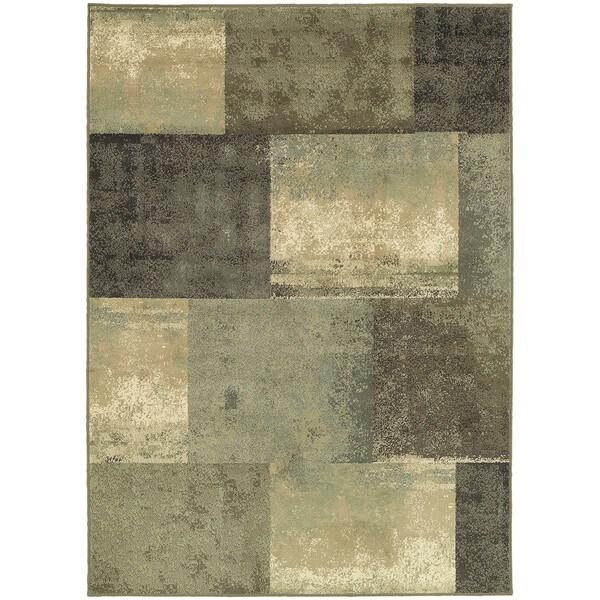 Scrapbook Blocks Green/Brown Synthetic Fiber Area Rug (3'3 x 5'5)