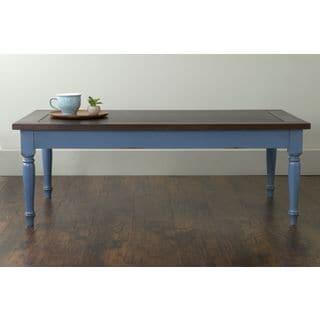 East At Main's Sharp Blue Mahogany Rectangle Coffee Table