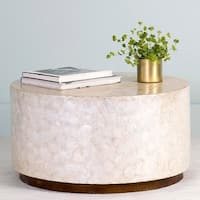 East At Main's Rowden Off-White Wood and Capiz Round Coffee Table