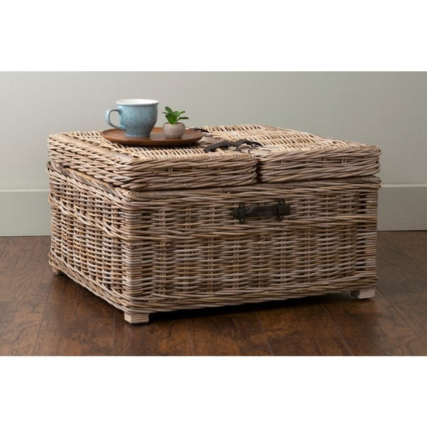 Small Grey Rattan Coffee Table: Shop East At Main's Harbor Grey Rattan Square Coffee Table