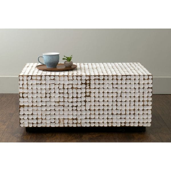 East At Mainu0026#x27;s Dellwood White Coconut Shell Inlay Rectangle Coffee  Table