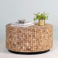 East At Main's Cummings Brown Coconut Shell Inlay Round Coffee Table