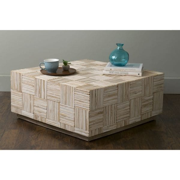 East At Main X27 S Ashford Off White Teakwood Square Coffee Table