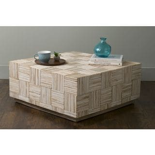 East At Main's Ashford Off-White Teakwood Square Coffee Table