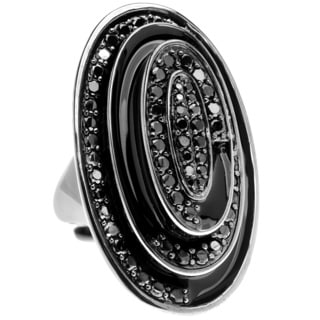 Ladies' Brass Oval-shaped Black Cubic Zirconia Cocktail Ring