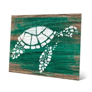 'Turtle on Emerald' Aluminum Wall Art