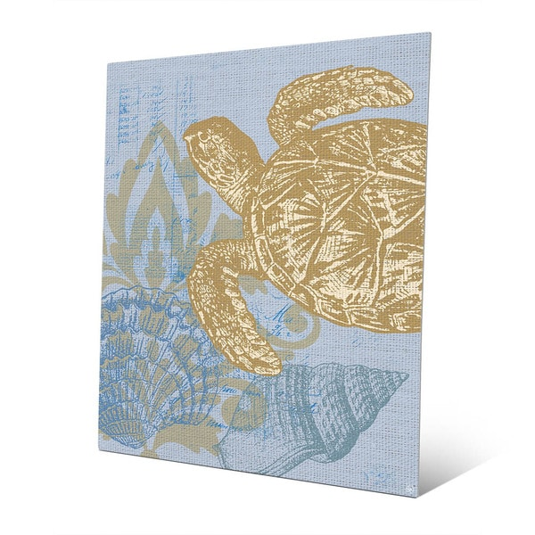Damask Sea Turtle  Blue Wall Art on Metal