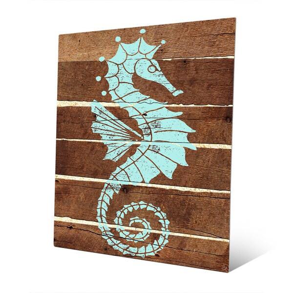 Seahorse Planks Green Metal Wall Art