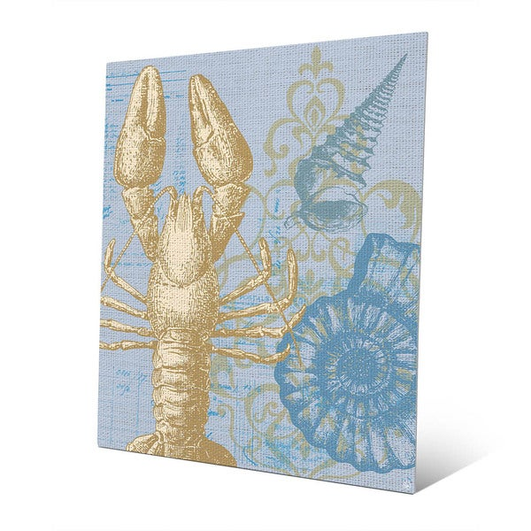 'Damask Lobster' Blue Wall Art on Metal
