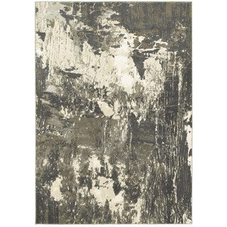 "Plush Abstract Grey/Ivory Polypropylene and Polyester Area Rug - 3'10"" x 5'5"""