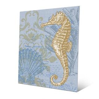 'Damask Seahorse' Blue Metal Wall Art