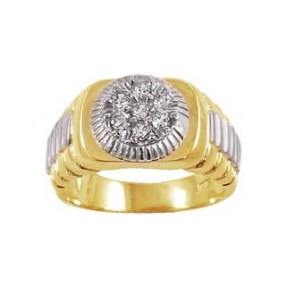 Regalia 14k Two-Tone Gold Men's 1/2ct TDW Diamond Ring, Size 10