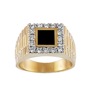 Regalia Men's 14k Gold 1/2ct TDW Diamond and Square Stone Ring