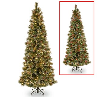 PowerConnect Glittering Pine Slim 9-foot Tree with Dual Color LED Lights