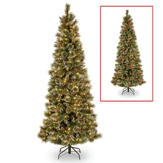PowerConnect Glittering 7.5-foot Pine Slim Tree with Dual Color LED Lights