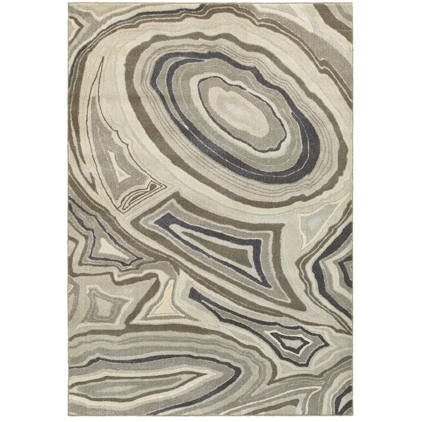 "Plush Abstract Marble Ivory/Grey Polypropylene and Polyester Area Rug (3'10 x 5'5) - 3'10"" x 5'5"""