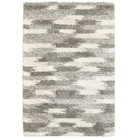 Oliver & James Bove Ivory and Grey Blocks Shag Area Rug - 3'10 x 5'5