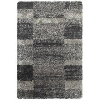 Shaded Blocks Grey/Charcoal Polypropylene Shag Rug (3'10 x 5'5)
