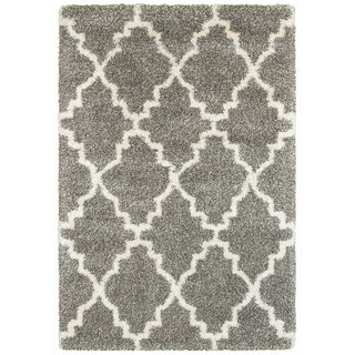 Quatrafoil Lattice Grey/Ivory Polypropylene Shag Rug (3'10 x 5'5)