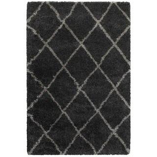 Diamond Lattice Charcoal/Grey Polypropylene Shag Rug (3'10 x 5'5)