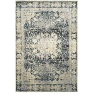 Distressed Medallion Ivory/Blue Polypropylene and Polyester Area Rug (3'10 x 5'5)