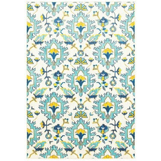 """Modern Floral Traditions Ivory/Blue Polypropylene Area Rug (3'10 x 5'5) - 3'10"""" x 5'5"""""""