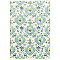 Modern Floral Traditions Ivory/Blue Polypropylene Area Rug - 3'10 x 5'5