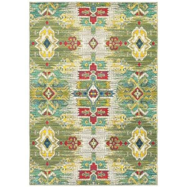 Updated Ikat Traditional Stone/ Green Area Rug (3'10 x 5'5)