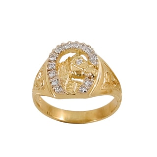Regalia Men's 14k Gold 3/8ct TDW Diamond Horseshoe Ring, Size 10