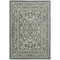 """Floral Traditional Blue/ Ivory Polypropylene Area Rug (3'10 x 5'5) - 3'10"""" x 5'5"""""""