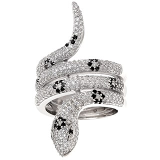 Women's Brass Black and White Cubic Zirconia Accents Snake Ring