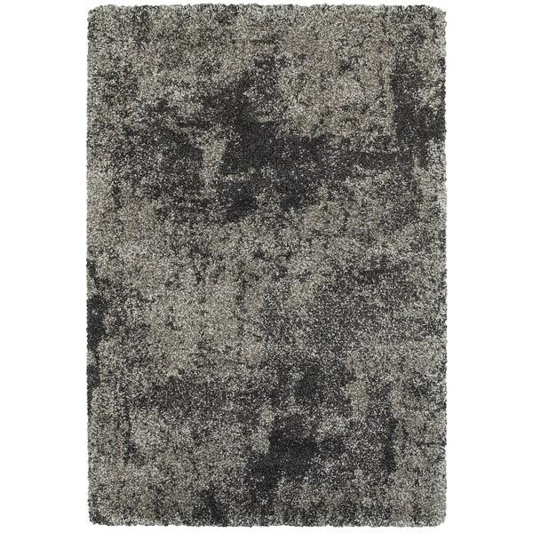 Grey Polypropylene Shag Rug (3'10 x 5'5)