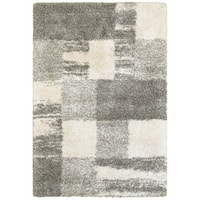 "Oliver & James Bove Ivory and Grey Blocks Shag Rug - 3'10"" x 5'5"""