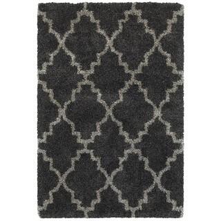 Quatrafoil Lattice Charcoal/Grey Shag Rug (3'10 x 5'5)