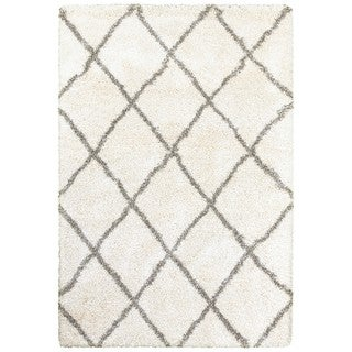 Diamond Lattice Ivory/Grey Polypropylene Shag Rug (3'10 x 5'5)