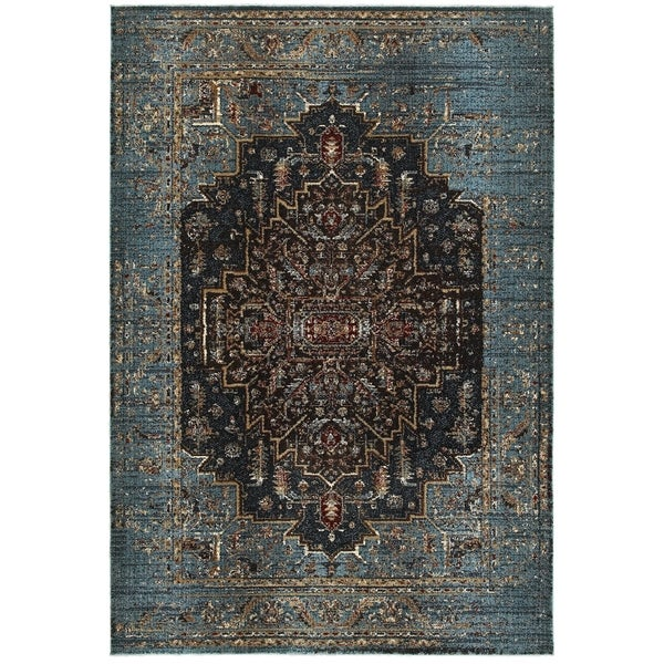 "Regal Medallion Blue/Navy Polypropylene and Polyester Area Rug (3'10 x 5'5) - 3'10"" x 5'5"""