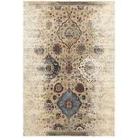 Antiqued Floral Traditions Ivory/ Blue Area Rug (3'10 x 5'5)