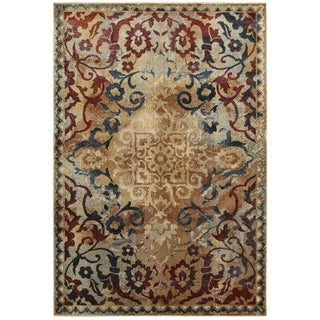 """Distressed Floral Medallion Gold/Red Area Rug (3'10 x 5'5) - 3'10"""" x 5'5"""""""