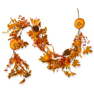 National Tree Company Orange Fabric 72-inch Pumpkin Garland