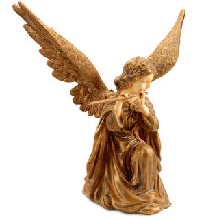 National Tree Company 24-inch Gold Polyston Angel