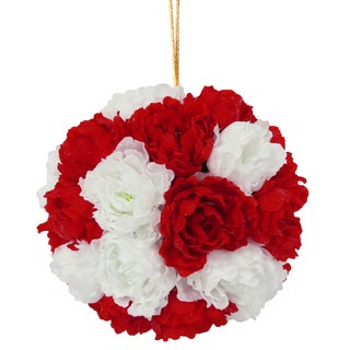 Red and White Fabric 12.6-inch Glittery Peony Hanging Ball